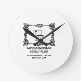 fancy bathroom rules round clock