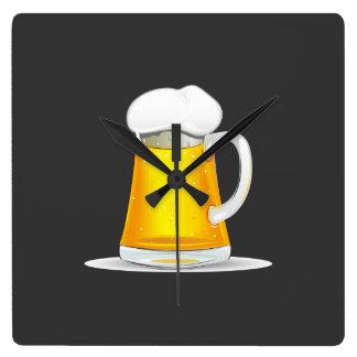 Fancy Beer Clock. Square Wall Clock