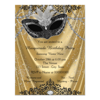 """Fancy Black and Gold Masquerade Party 4.25"""" X 5.5"""" Invitation Card"""