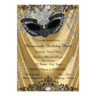 "Fancy Black and Gold Masquerade Party 5"" X 7"" Invitation Card"