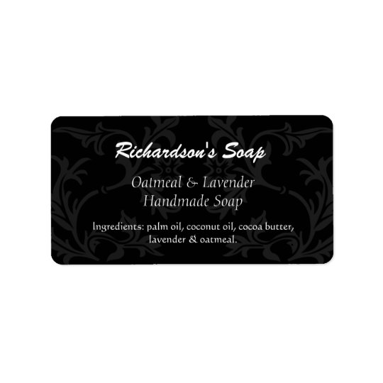 Fancy Black And Grey Damask Soap Labels