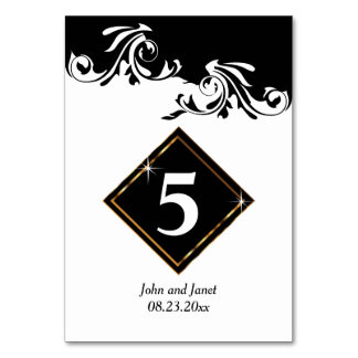 Fancy Black and White Florid Design Card
