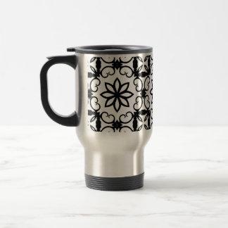 Fancy black and white flower kaleidoscope travel mug