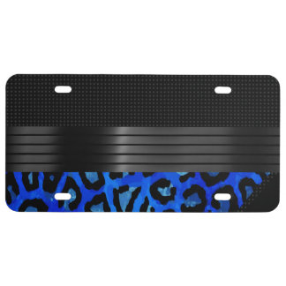 Fancy Black Cheetah Abstract License Plate