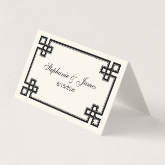 Fancy Black Greek Key Frame Escort Cards Ivory