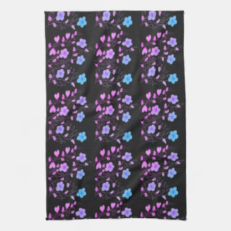 Fancy Black Hand Towel With Mauve and Blue