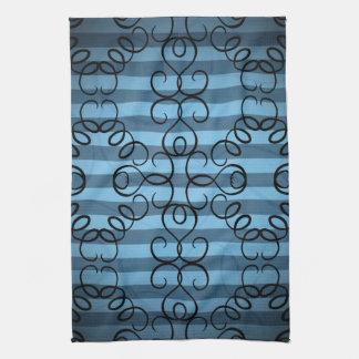 Fancy black swirl design on blue stripes kitchen towel
