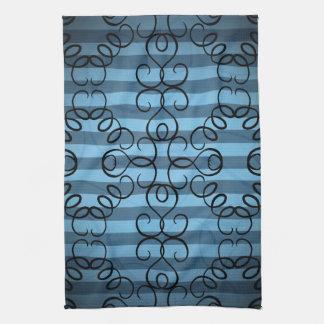 Fancy black swirl design on blue stripes kitchen towels