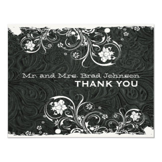 Fancy Black White Rustic Leather Thank You Card