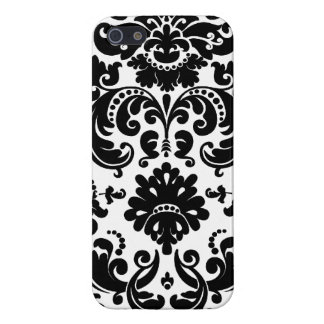 Fancy Black White Vintage Damask Pattern iPhone 5/5S Cases