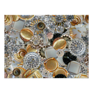 Fancy Bling Buttons Collage Poster