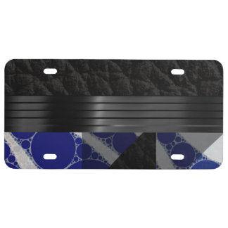 Fancy Blue Black License Plate