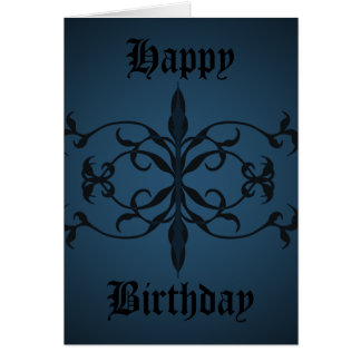 Fancy blue Gothic Birthday day to personalize Card