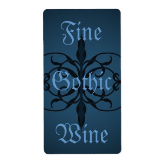 Fancy blue Gothic long bottle lable to personalize Shipping Label