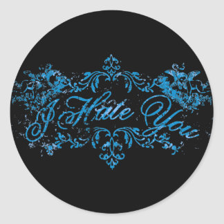 Fancy Blue I Hate You Classic Round Sticker