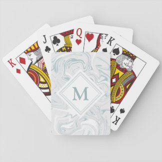 Fancy Blue Marble Look Diamond Monogram Playing Cards