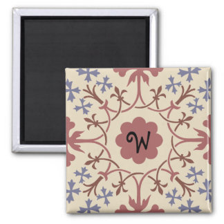 Fancy Blue & Mauve Monogram Magnet