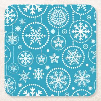 Fancy Blue Snowflake Shower Square Paper Coaster
