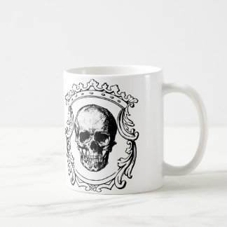 Fancy border skull king coffee mug