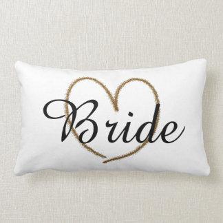 "Fancy ""Bride"" With Big Gold Heart Lumbar Pillow"