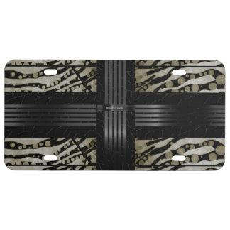 Fancy Brown Black Zebra License Plate