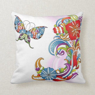 Fancy Butterfly and Flower Design Accent Pillow