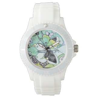 Fancy Butterfly Collage Water Colour Print Watch