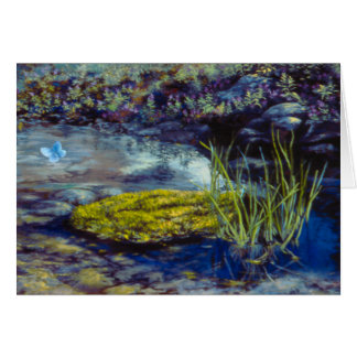 Fancy Butterfly Pond Oil Print Photo Designed Card