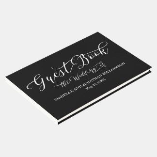 Fancy Calligraphy Black White Elegant Guest Book