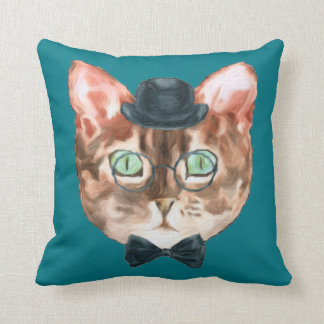 Fancy Cat Lovers Decor Top Hat Glasses Bow Tie Throw Pillow