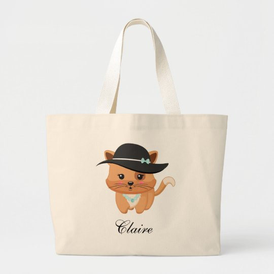 Fancy Cat with Hat Large Tote Bag