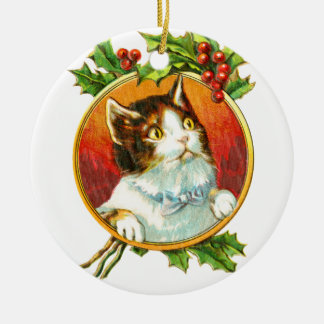 Fancy Cat with Holly Berry | Vintage Christmas Ceramic Ornament