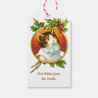 Fancy Cat with Holly Berry   Vintage Christmas Gift Tags