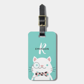 Fancy Cat with Monocle | Monogram Luggage Tag