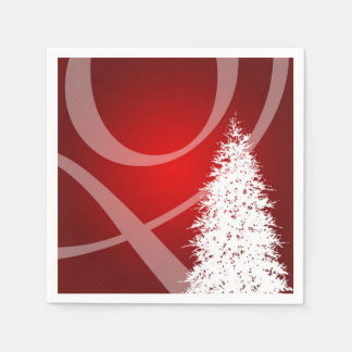 Fancy Christmas Tree Holiday Xmas Design Red White Disposable Napkins