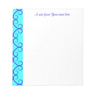 Fancy colorblock blue colors notepad