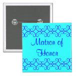 Fancy colorblock blue colours matron of honour button