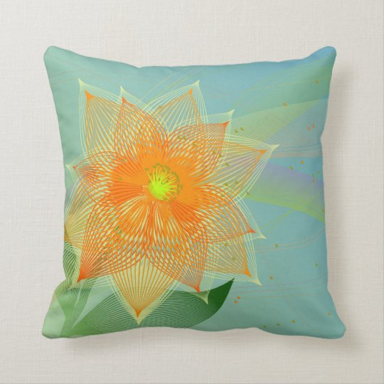 Fancy colourful abstract flower throw pillow