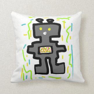fancy cool robot gray throw pillow
