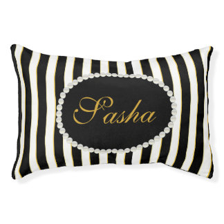 Fancy Custom Name Monogram Stripes & Pearls Pet Bed