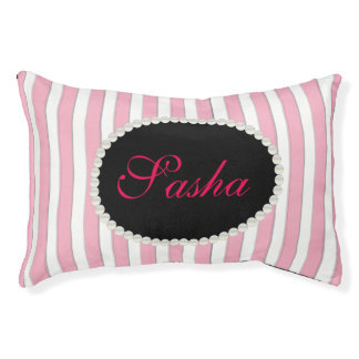 Fancy Custom Name Monogram Stripes & Pearls Pet Bed