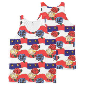 Fancy Cute Red White Blue Star USA Flag and Roses All-Over-Print Tank Top