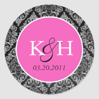 Fancy Damask Classic Round Sticker