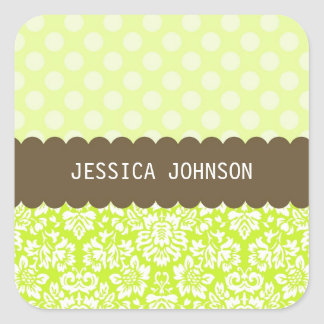 Fancy Damask Square Sticker