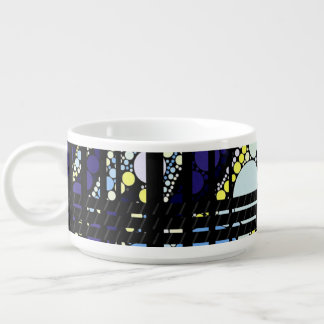 Fancy Dark Blue Abstract Chili Bowl