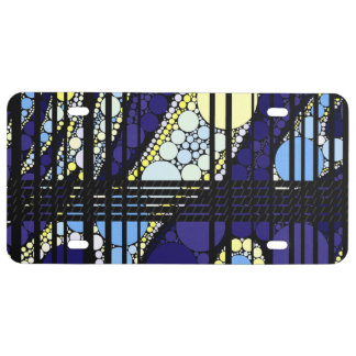 Fancy Dark Blue Abstract License Plate