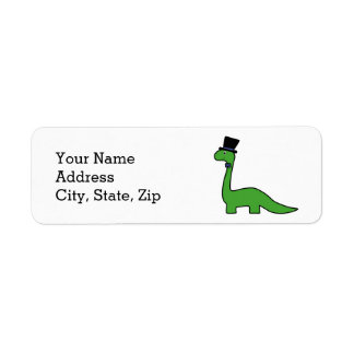 Fancy Dinosaur with a Top Hat Return Address Label