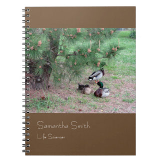Fancy Ducks Notebook, Brown, Customizable Spiral Notebook