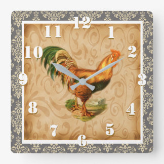 Fancy Elegant Damask Ornate Rustic Country Rooster Square Wall Clock