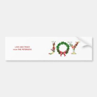 Fancy elegant floral Christmas JOY typography Bumper Sticker